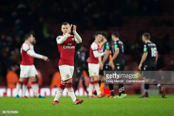 Arsenal's Jack Wilshere applauds the fans at the final whistle during the Premier League match between Arsenal and Crystal Palace at Emirates Stadium...