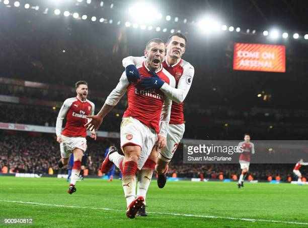 Arsenal's Jack Wilshere celebrates his goal with Grait Xhaka during the Premier League match between Arsenal and Chelsea at Emirates Stadium on...