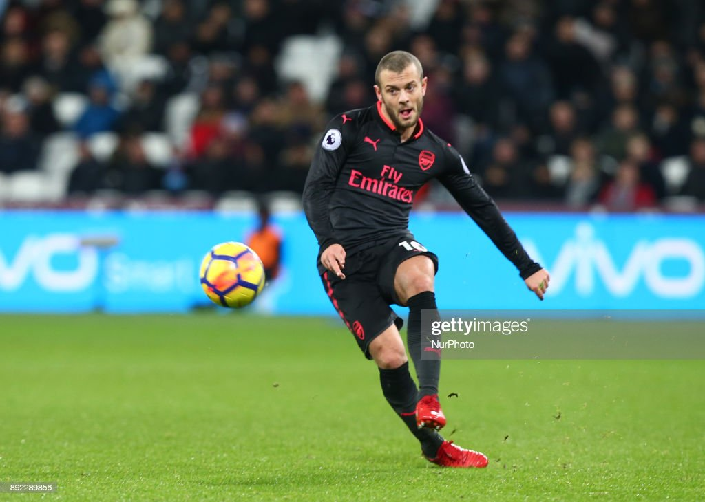 Arsenal's Jack Wilshere in action during Premier League match between West Ham United against Arsenal at The London Stadium, Queen Elizabeth II Olympic Park, London, Britain - 13 Dec 2017