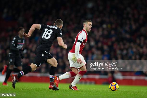 Arsenal's Jack Wilshere in action during the Premier League match between Arsenal and Crystal Palace at Emirates Stadium on January 20 2018 in London...
