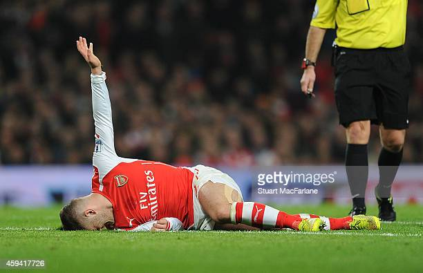Arsenal's Jack Wilshere injured during the Barclays Premier League match between Arsenal and Manchester United at Emirates Stadium on November 22...