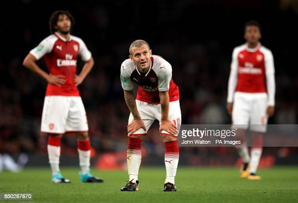 Arsenal's Jack Wilshere stands with hands on knees during the Carabao Cup Third Round match at the Emirates Stadium London