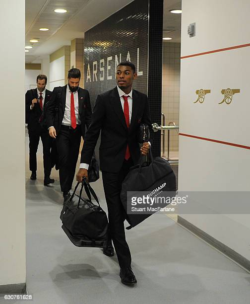 Arsenal's Jeff ReineAdelaide in the home changing room before the Premier League match between Arsenal and Crystal Palace at Emirates Stadium on...