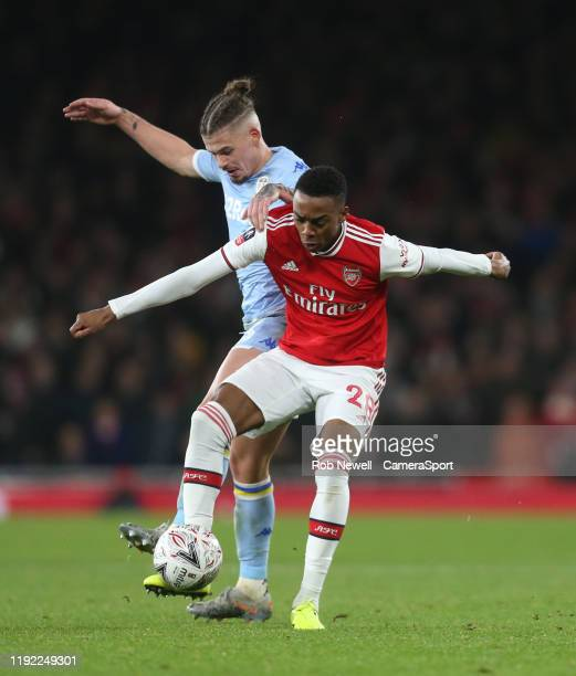 Arsenal's Joe Willock and Leeds United's Kalvin Phillips during the FA Cup Third Round match between Arsenal and Leeds United at Emirates Stadium on...