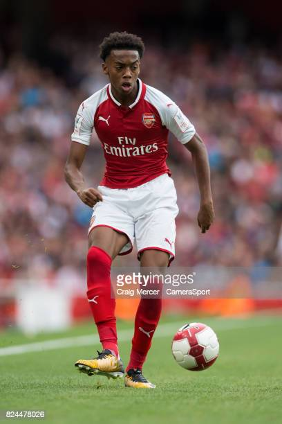Arsenal's Joe Willock in action during the Emirates Cup match between Arsenal and Sevilla FC at Emirates Stadium on July 30 2017 in London England