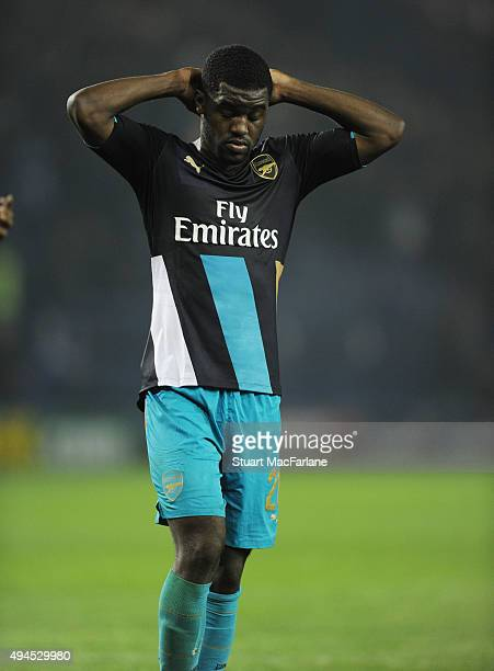 Arsenal's Joel Campbell after the Capital One Cup Fourth Round match between Sheffield Wednesday and Arsenal at Hillsborough Stadium on October 27...