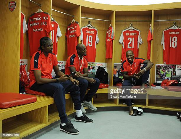 Arsenal's Kanu, Justin Hoyte and Luis Boa Morte before the friendly match between the Arsenal Legends and Milan Glorie at Emirates Stadium on...