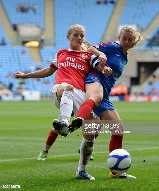 Arsenal's Katie Chapman and Bristol Academy's Anouk Hoogendijk during the Womens FA Cup Final at the Ricoh Arena Coventry