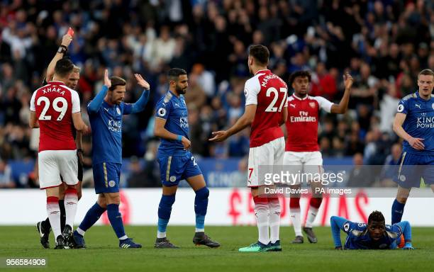 Arsenal's Konstantinos Mavropanos is sent off by match referee Graham Scott during the Premier League match at the King Power Stadium Leicester