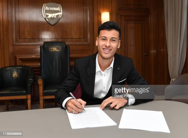 Arsenal's latest signing Gabriel Martinelli at London Colney on July 02 2019 in St Albans England