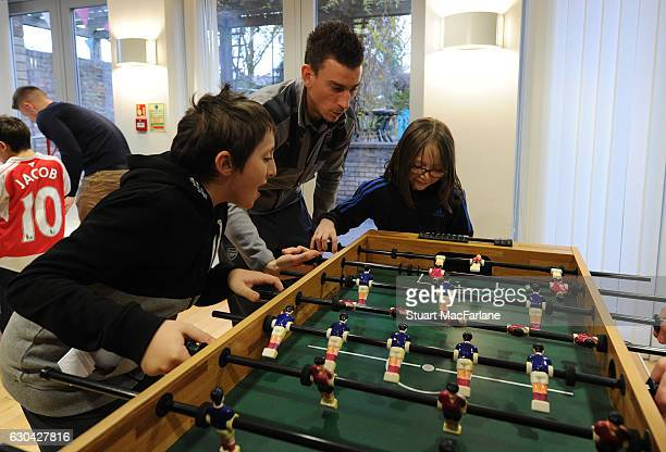 Arsenal's Laurent Koscielny during a visit to charity Centre 404 on December 22, 2016 in London, England.