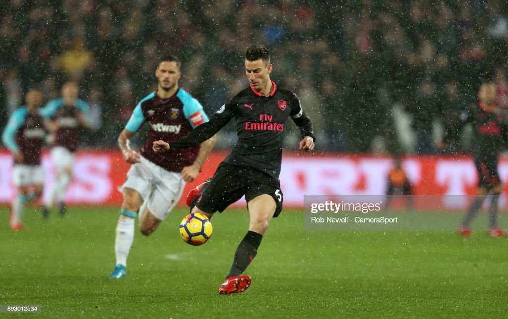 Arsenal's Laurent Koscielny during the Premier League match between West Ham United and Arsenal at London Stadium on December 13, 2017 in London, England.