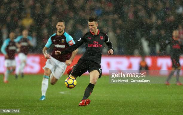 Arsenal's Laurent Koscielny during the Premier League match between West Ham United and Arsenal at London Stadium on December 13 2017 in London...