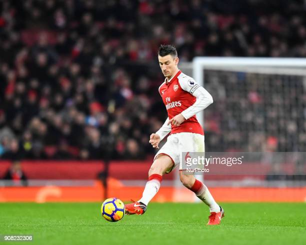 Arsenal's Laurent Koscielny in action during Premier League match between Arsenal against Crystal Palace at Emirates Stadium 20 Jan 2018