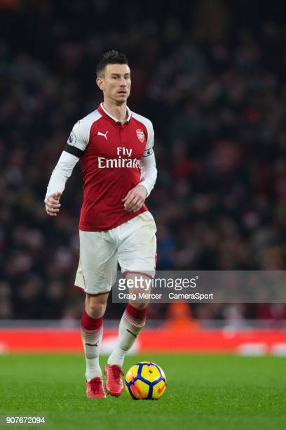 Arsenal's Laurent Koscielny in action during the Premier League match between Arsenal and Crystal Palace at Emirates Stadium on January 20 2018 in...