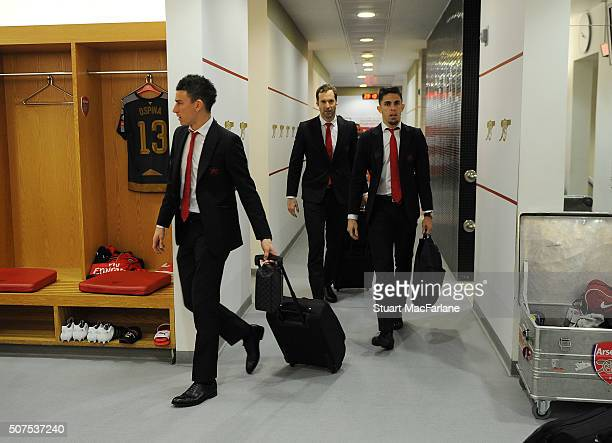 Arsenal's Laurent Koscielny Petr Cech and Gabriel in the home changing room before the The Emirates FA Cup Fourth Round match between Arsenal and...