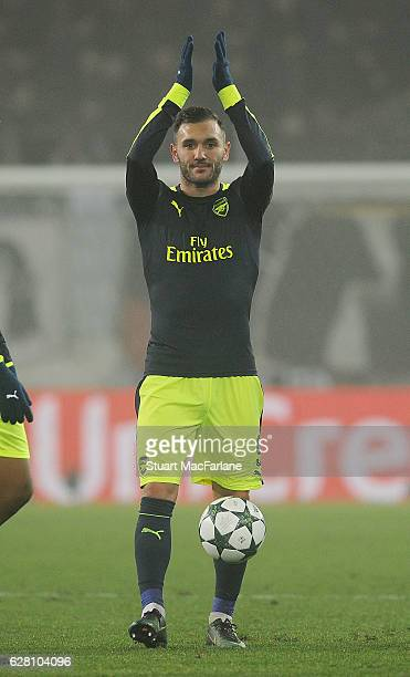Arsenal's Lucas Perez after the UEFA Champions League match between FC Basel and Arsenal at St JakobPark on December 6 2016 in Basel BaselStadt
