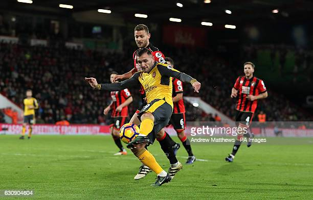 Arsenal's Lucas Perez scores his side's second goal of the game during the Premier League match at the Vitality Stadium Bournemouth