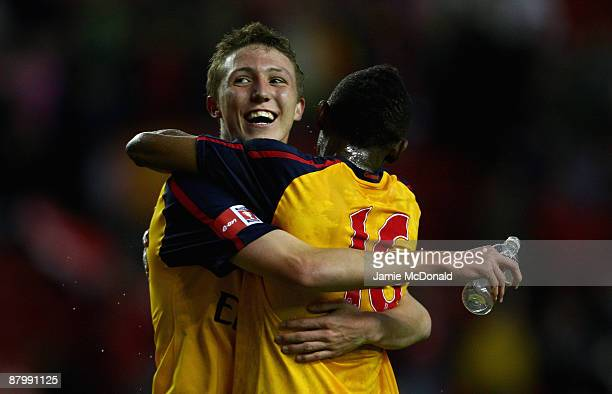 Arsenals Luke Ayling and Cedric Evina celebrate winning the FA Youth Cup during the second leg of the FA Youth Cup final sponsored by E.ON, between...