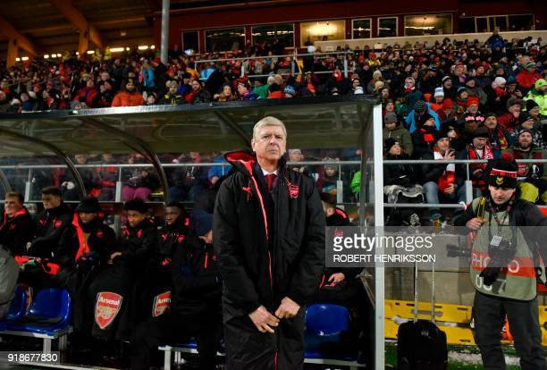 Arsenal's manager Arsene Wenger is pictured during the UEFA Europa League round of 32 first leg football match of Ostersund FK vs Arsenal FC on...