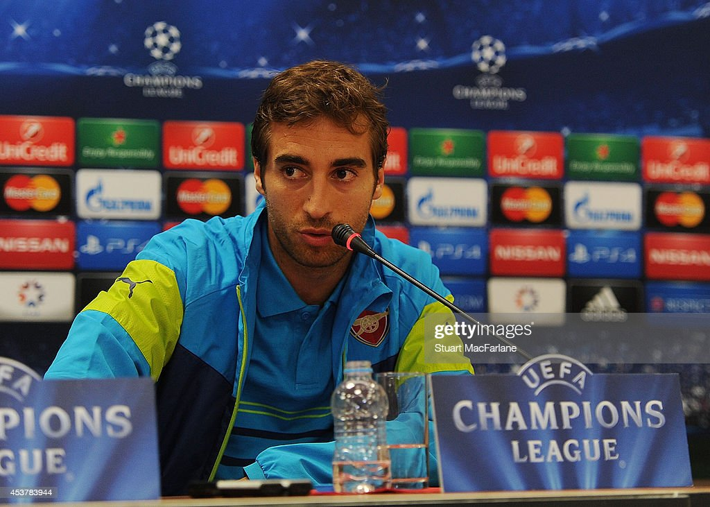 Arsenal's Mathieu Flamini attends a press conference at the Ataturk Olympic Stadium on August 18, 2014 in Istanbul, Turkey.