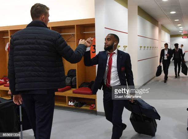 Arsenal's Matt Macey and Alex Lacazette arrive prior to kickoff during the Premier League match between Arsenal and West Bromwich Albion at Emirates...