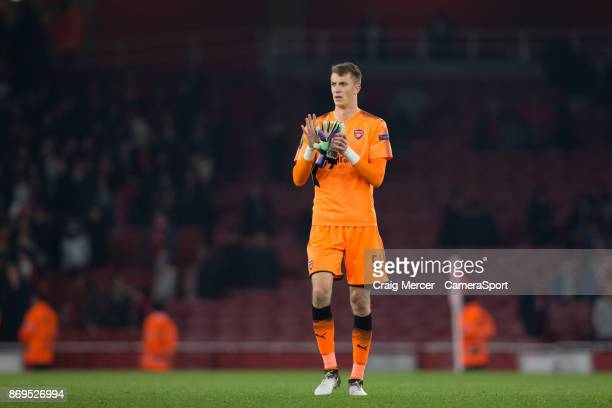 Arsenal's Matt Macey applauds the fans at the final whistle during the UEFA Europa League group H match between Arsenal FC and Crvena Zvezda at...