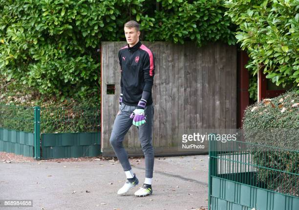 Arsenal's Matt Macey during a Arsenal training session ahead of the UEFA Europa League Group H match against Red Star Belgrade at Arsenal training...