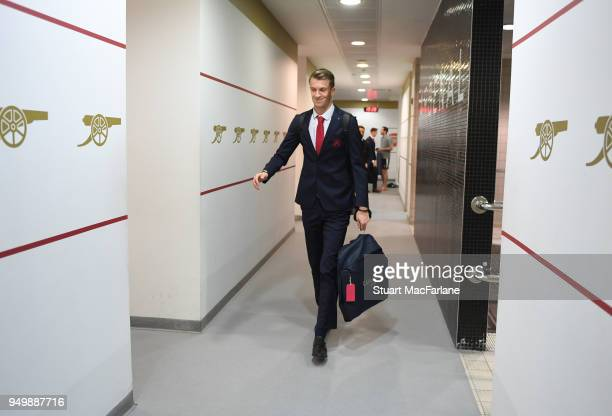 Arsenal's Matt Macey in the home changing room before the Premier League match between Arsenal and West Ham United at Emirates Stadium on April 22...