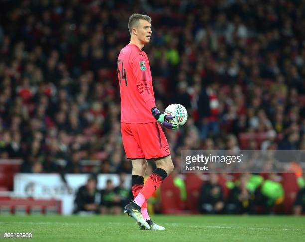 Arsenal's Matt Macey making his Debut during Carabao Cup 4th Round match between Arsenal and Norwich City at Emirates Stadium London England on 24...