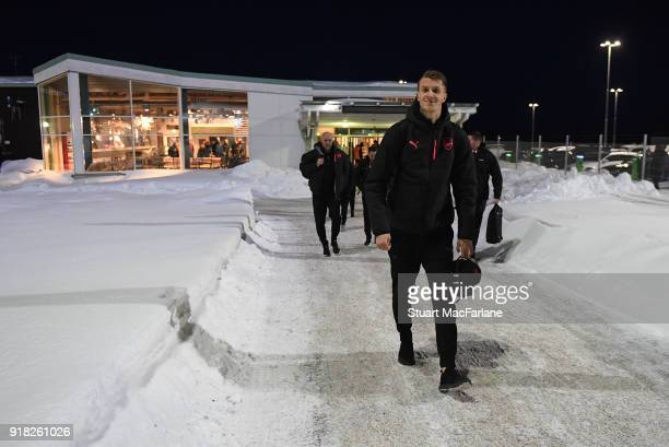 Arsenal's Matt Macey walks from the terminal to team bus at Ostersund airport on February 14 2018 in Ostersund Sweden