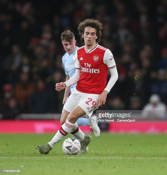 Arsenal's Matteo Guendouzi and Leeds United's Robbie Gotts during the FA Cup Third Round match between Arsenal and Leeds United at Emirates Stadium...