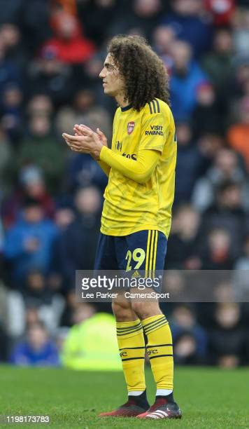 Arsenal's Matteo Guendouzi claps the Burnley fans after they taunt him during the Premier League match between Burnley FC and Arsenal FC at Turf Moor...