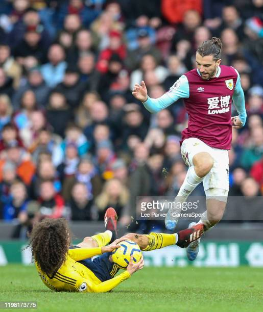 Arsenal's Matteo Guendouzi grabs the ball after he is fouled by Burnley's Jay Rodriguez during the Premier League match between Burnley FC and...