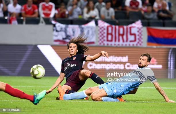 Arsenal's Matteo Guendouzi shoots during the friendly football match between Arsenal and Lazio in Solna Sweden on August 4 2018
