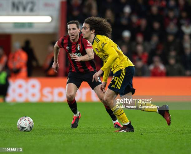 Arsenal's Matteo Guendouzi under pressure from Bournemouth's Dan Gosling during the FA Cup Fourth Round match between Bournemouth and Arsenal at...