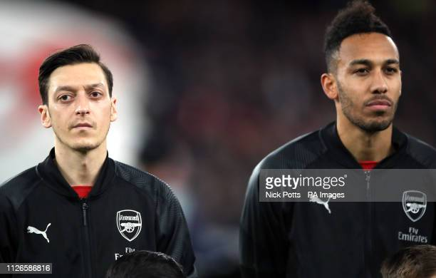 Arsenal's Mesut Ozil and PierreEmerick Aubameyang prior to kickoff during the UEFA Europa League round of 32 second leg match at the Emirates Stadium...