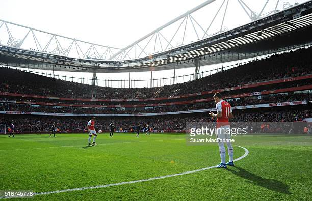 Arsenal's Mesut Ozil before the Barclays Premier League match between Arsenal and Watford at Emirates Stadium on April 2 2016 in London England