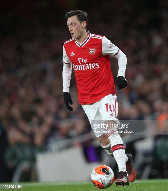 Arsenal's Mesut Ozil during the Premier League match between Arsenal FC and Everton FC at Emirates Stadium on February 23 2020 in London United...