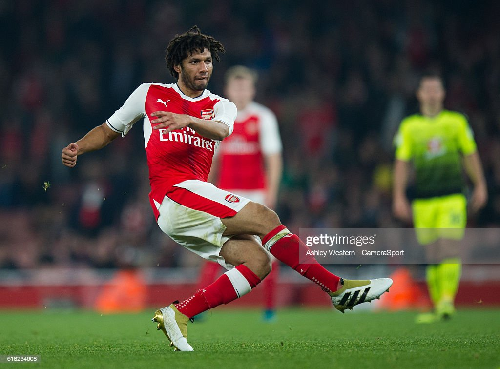 Arsenal's Mohamed Elneny fires at goal during the EFL Cup 4th Round match between Arsenal and Reading at Emirates Stadium on October 25, 2016 in London, England.