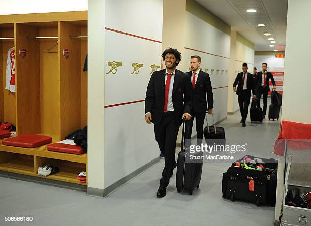 Arsenal's Mohamed Elneny in the home changing room before the Barclays Premier League match between Arsenal and Chelsea at Emirates Stadium on...