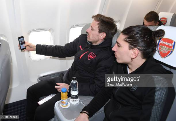Arsenal's Nacho Monreal and Hector Bellerin on the team flight at Luton Airport on February 14 2018 in Luton United Kingdom