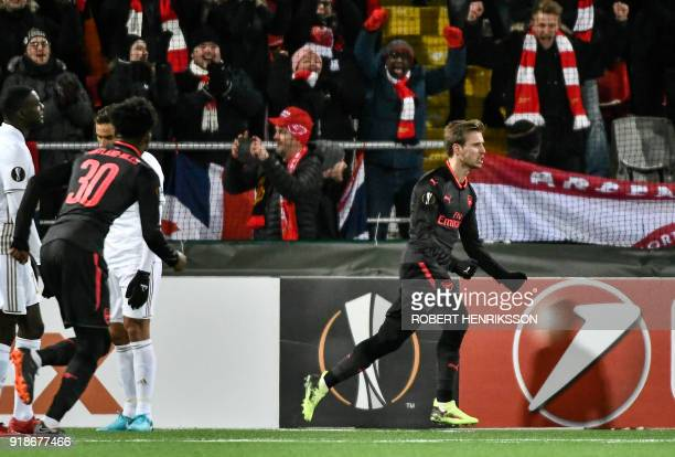 Arsenal's Nacho Monreal celebrates after scoring the 01 during the UEFA Europa League round of 32 first leg football match of Ostersund FK vs Arsenal...