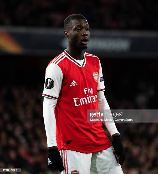 Arsenal's Nicolas Pepe during the UEFA Europa League round of 32 second leg match between Arsenal FC and Olympiacos FC at Emirates Stadium on...