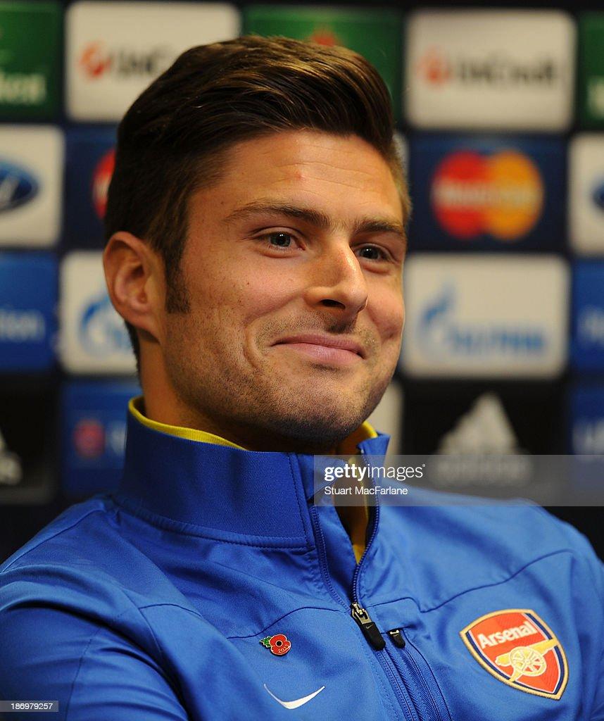 Arsenal's Olivier Giroud attends a pre match press conference at Signal Iduna Park on November 5, 2013 in Dortmund, North Rhine-Westphalia.