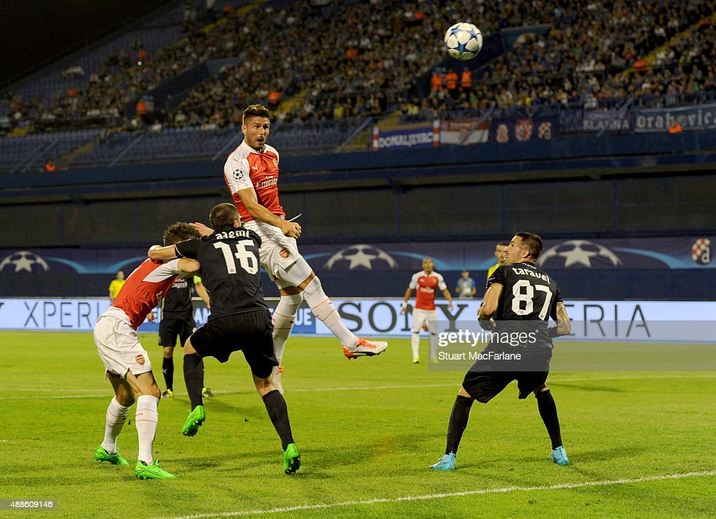 Arsenal's Olivier Giroud has his header saved by Zagreb goalkeeper Eduardo during the UEFA Champions League Group Stage match between GNK Dinamo Zagreb and Arsenal at the Maksimir Stadium on September 16, 2015 in Zagreb, Croatia.