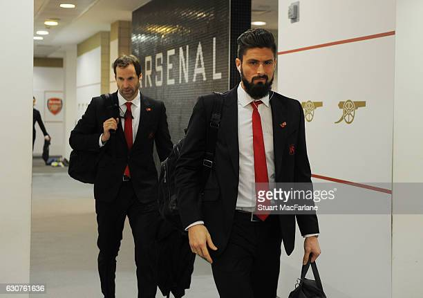 Arsenal's Olivier Giroud in the home changing room before the Premier League match between Arsenal and Crystal Palace at Emirates Stadium on January...