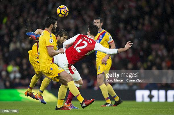 Arsenal's Olivier Giroud scores the opening goal during the Premier League match between Arsenal and Crystal Palace at Emirates Stadium on January 1...