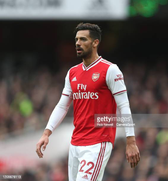 Arsenals Pablo Mari during the Premier League match between Arsenal FC and West Ham United at Emirates Stadium on March 7 2020 in London United...