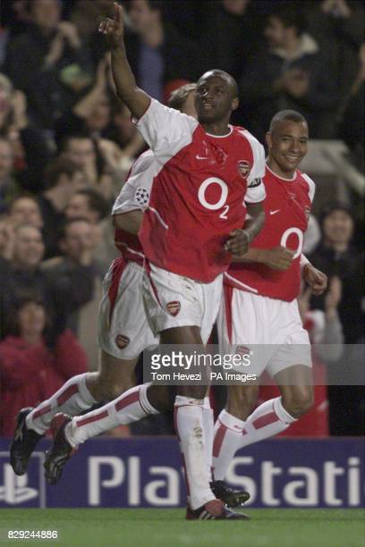 Arsenal's Patrick Vieira celebrates his opening goal during their 2nd round group B Champions League match against Roma at Highbury in north London...